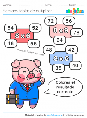 actividades de la tabla de multiplicar del 8