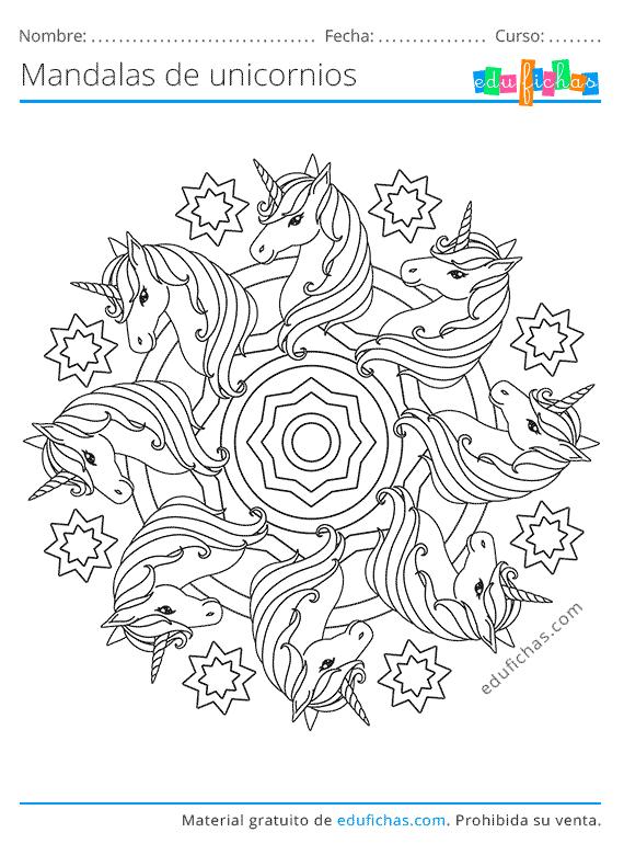 colorear mandalas de unicornio