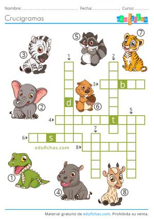crucigrama con animales