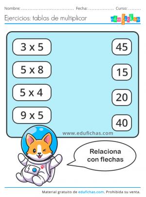 ejercicios multiplicar tabla del 5