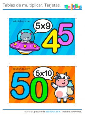 flashcards gratis tabla del 5