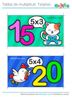 flashcards tabla del 5