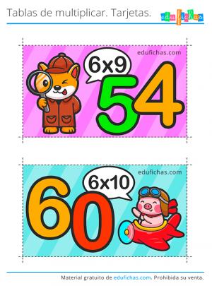 flashcards tabla del 6 para imprimir