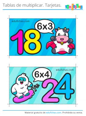 flashcards de la tabla del seis