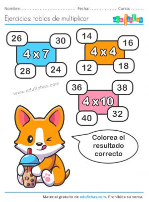 imprimir la tabla del 4 ejercicios