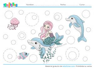sirenas y delfines trazos