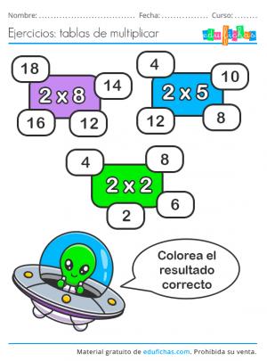 tabla del 2 ejercicios