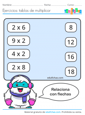 tabla del 2 flechas