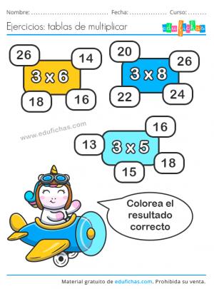 tabla del 3 ejercicios para imprimir