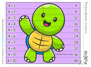 tabla del 4 rompecabezas