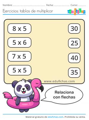 tabla del 5 imprimir ejercicios