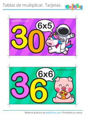 tabla del 6 tarjetas