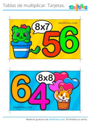 tabla del 8 tarjetas