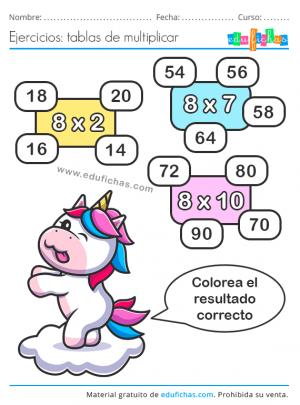 tabla de multiplicar 8 fichas