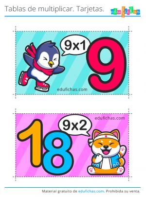 tabla de multiplicar 9