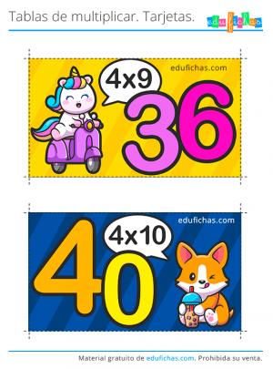 tablas de multiplicar flashcards x4