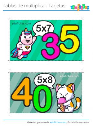 tablas de multiplicar tarjetas x5