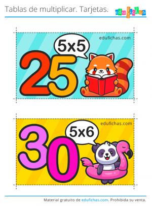 tarjetas de la tabla del cinco