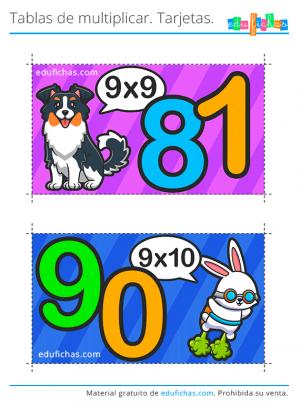 tarjetas tabla del 9