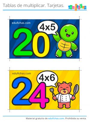 tarjetas tabla x4