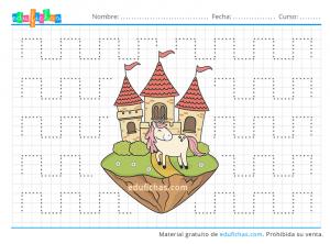unicornio y castillo grafomotricidad