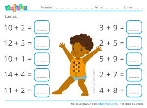 cálculo y sumas de verano para niños