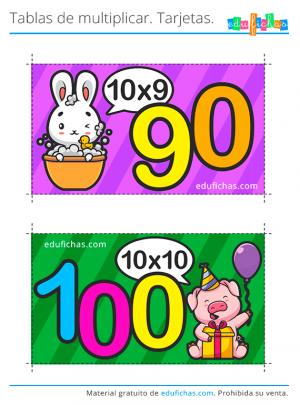 cartas tabla del 10