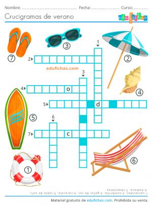 crucigrama de playa