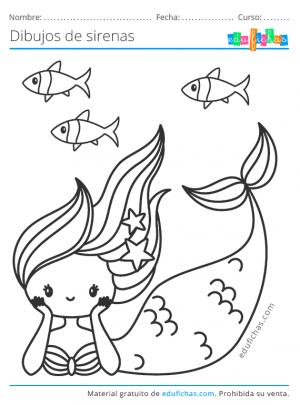 dibujo de una sirena para pintar