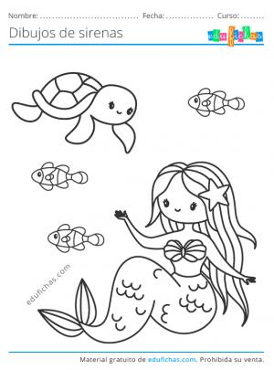 dibujos para imprimir de sirenas