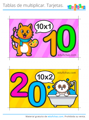 flashcards tabla del 10