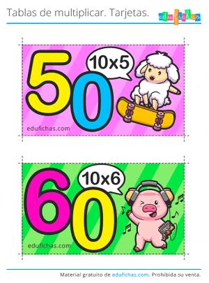imprimir flashcards tabla del 10