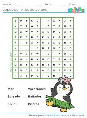 sopas de letras de verano para niños