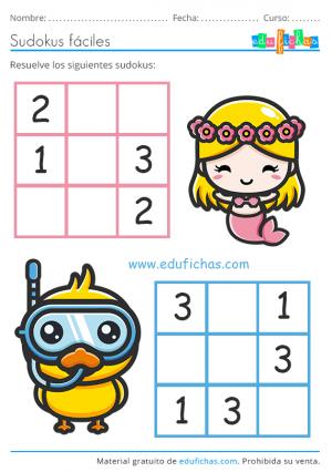 sudoku infantil de verano