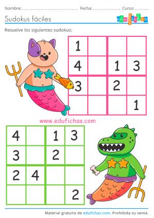 sudoku para niños de verano