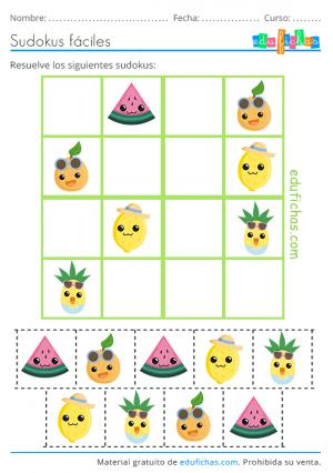 sudoku para recortar de vacaciones