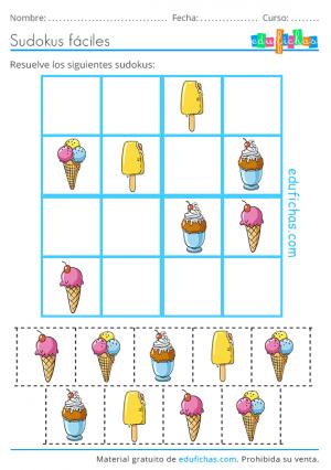 sudoku recortable de helados