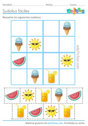 sudoku de verano con imágenes