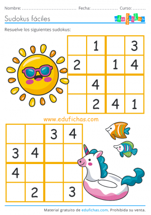 sudoku de verano para niños