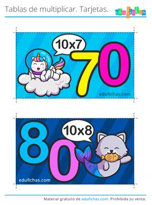 tarjetas tabla del 10