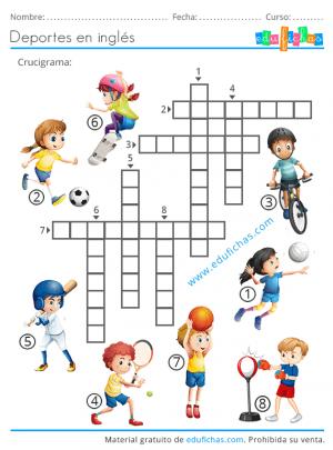 crucigrama deportes ingles