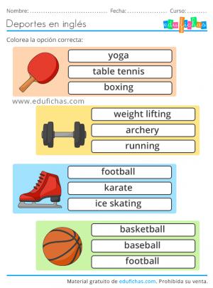 deportes para niños en ingles