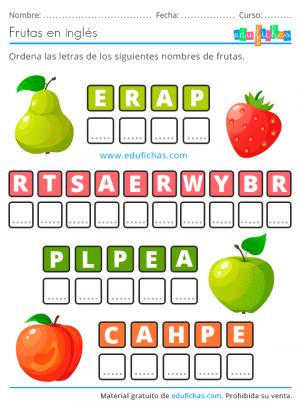 ejercicio de las frutas en inglés