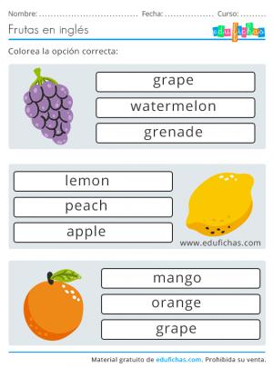frutas en inglés ejercicios