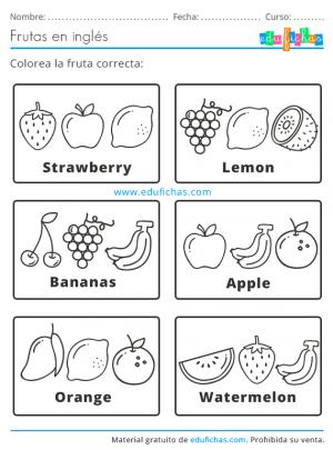 frutas en inglés para niños
