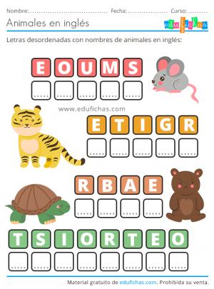 nombres de animales en inglés