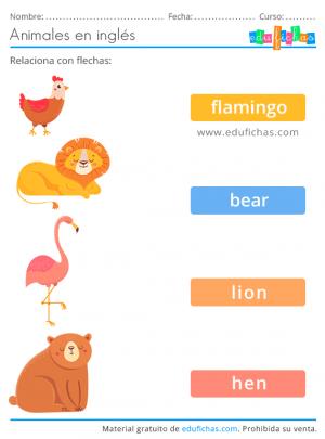 relacionar con flechas animales en inglés