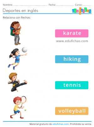 vocabulario de deportes en inglés