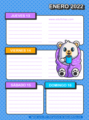 agenda escolar para niños gratis