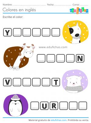 ejercicio de colores en inglés